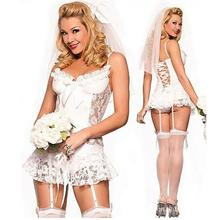 European and American Sexy Underwear Sets Lace Bride Wedding Dress Sexy Lingerie Perspective White 0166
