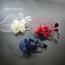 2017 New Holiday Women Fascinator Feather Hair Hat Birdcage Vintage Veil Hat Hair Clip Party Girls Church Headdress WIne Red New