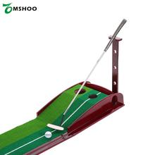 TOMSHOO Indoor Golf Putting Trainer Putting Aid Golf Putting Mat with Double Holes Gravity Ball Return Alignment Indicator