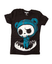 Design T Shirt Novelty Tops Akumu Ink Womens Bear Trapped Black T Shirt Hand Printed In California