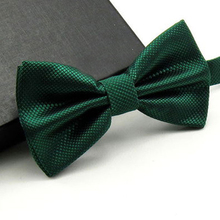 High Quality Men Fashion Solid Bowtie Wedding Butterfly Bow Tie Novelty Tuxedo Adjustable Necktie Yellow/Dark Green/Grass Green(China)