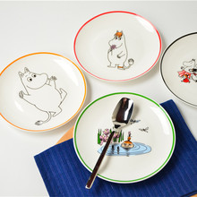 Moomin Series 8-Inch Bone China Plate Steak Western Dishes, Platters Chatter Microphone Cartoon Ceramic Flat Plate Free Shipping