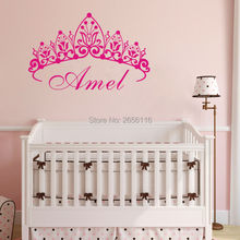 Personalized Girls Name Princess Crown Art Carving Cute Wall Decal Removable Vinyl Sticker for Girls Room Decoration(China)