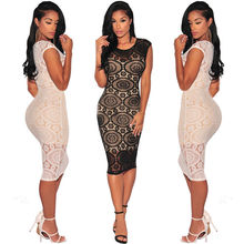 Buy Women Sexy Summer Bandage Bodycon Lace Dreses 2017 Sleeveless Floral Evening Party Dress Women Clothing for $8.49 in AliExpress store