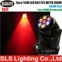 stage light used 7x15w 4in1 zoom beam led b eye moving head Most popular 7 x15W Bee eye LED Moving Head Lights B Eye 7x15w(China)