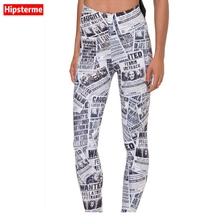 Hipsterme Drop ship S-4XL Women News paper Leggings MIlk Leggings Galaxy leggings Plus Size girl Leggings