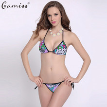 Gamiss New Arrival Sexy Bikini Triangle Swimwear Brazilian Floral Swimsuit Lady Bandage Mini Bikini Halter Top+Thong Bottom
