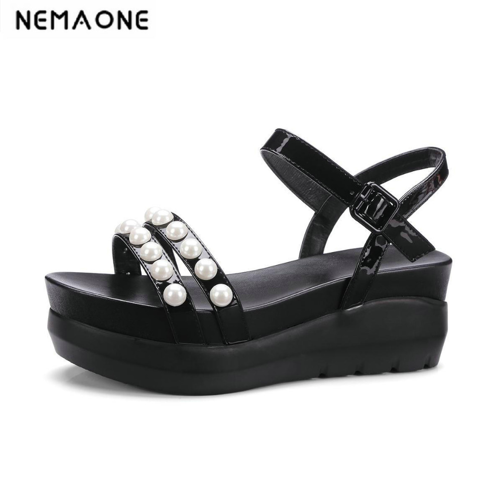2018 New women sandals wedges high heels sandals women fashion summer shoes woman black white women shoes<br>