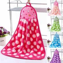 1PC Kitchen Dishcloths Colorful Heart Shape Hand Towel Cute Rags Super Soft Plush Fabric Hanging Hand Towels L50
