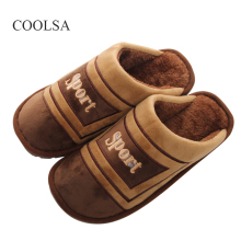 COOLSA 2017 New Men's Winter Cotton Slippers High Quality Indoor Non-slip Large Size Cotton Slippers EU 45/46/47/48 in Stock(China)