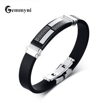 Men's Silicone Bracelets Stainless Steel Great Wall Bracelet Bangle For Male Wristbands Wrist Band Custom Jewelry Brand 2017(China)