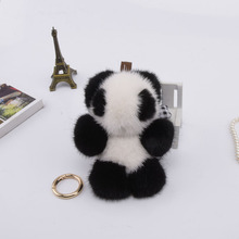 Genuine 11cm mink Fur Keychain fashion Soft Fur panda Key ring bag Pendant gift pendant car accessories key rings plush toy