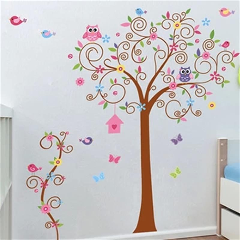 flower tree wall decal colorful hot sells wall decals zooyoo7250 home decorations diy pvc removable wall stickers for kids room(China (Mainland))