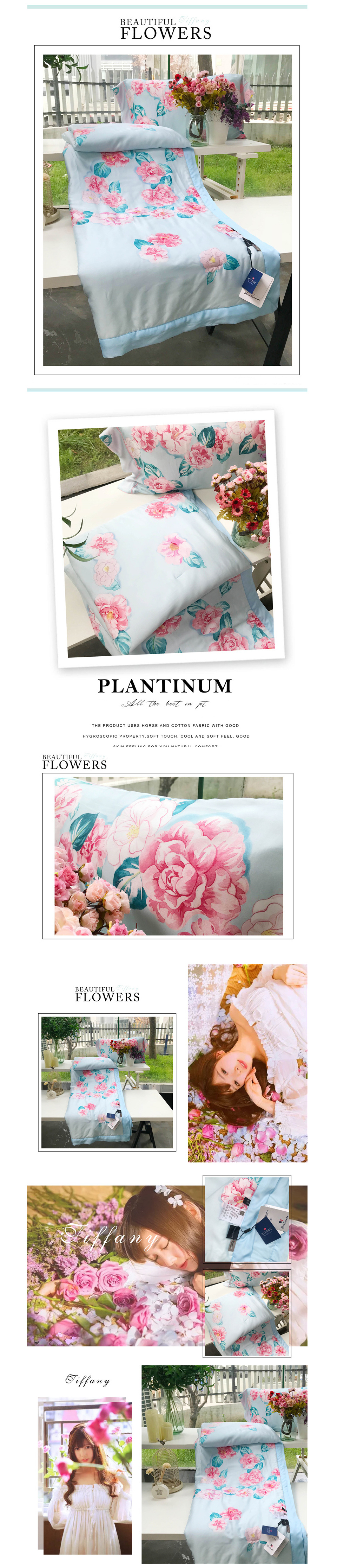 2018 summer comforter bedding set queen size 60s exquisite tencel cotton quilt lyocell fiber bed quilted pastoral flower printing process quilts 8