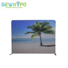 Exhibition Booth 10ft*7.5ft Straight Portable Tension Fabric Banner Advertising Display Stand With Your Custom Design Printing(China)