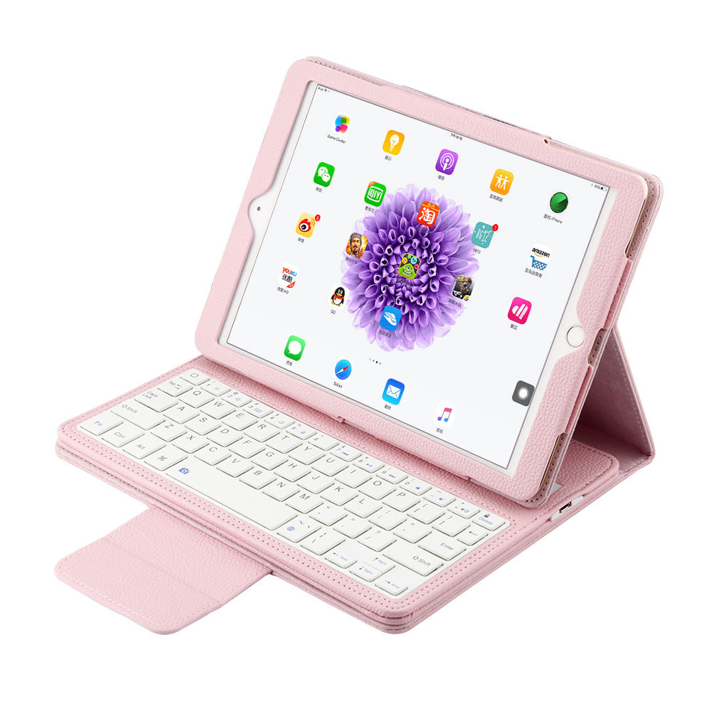 2 in 1 Removable wireless Bluetooth Keyboard + PU Leather Case For Apple iPad Pro 10.5 2017 Fashion Solid Case With Keyboard<br>