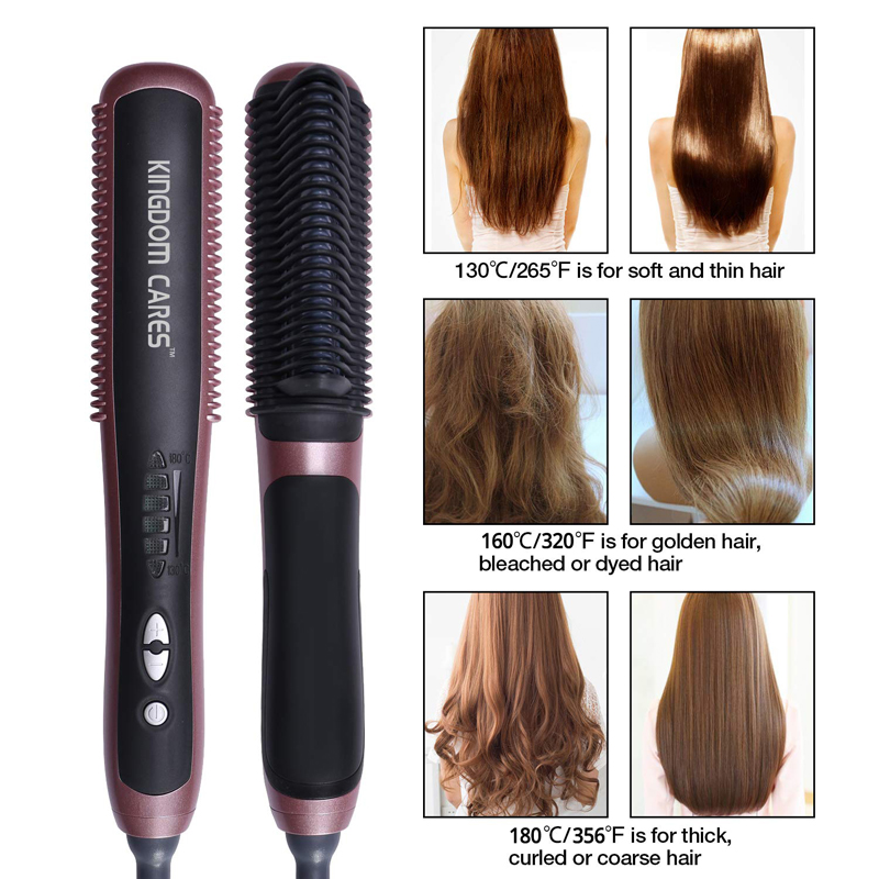 Professional Ceramic Hair Straightener Comb KD388A 2 in 1 Electric Curling Straightening Irons Brush Anti Scald Styling Tools