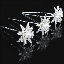 5pcs/lot Wedding Mariage Bridal Party  Crystal Faux Pearl Flower Hairpin Hair Clip Bridesmaid Wedding Favors Party Decor