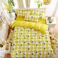 UNIKEA Summer Cotton Bedding Sets Lemon Yellow Livable Wind Bed Sheets Quilt/duvet Cover Pillowcase King Queen Full Twin