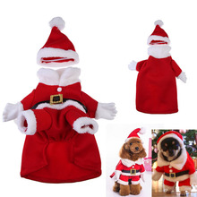 2017 hot sale Puppy cotton Dog Pet Clothes Christmas Outwear Coat Santa Claus Costume Hoodie Apparel 9off