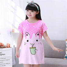 2017 Children Cute Printed nightgown Girls Cotton Shortless Summer Sleepwear For Girls 2-11 Years(China)