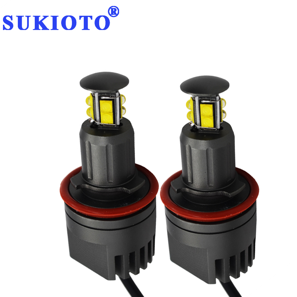 SUKIOTO 1 Pair 80W LED Angel Eyes H8 E92 LED Marker CREE Chip 6500K White marker DRL LED E92 E63 E64 E81 E82 E83 E60 Z4 X5 <br>