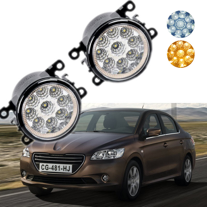 For Peugeot 301 2013-2016 2017 9-Pieces Leds Chips LED Fog Light Lamp H11 H8 12V 55W Halogen Fog Lights Car Styling DRL<br>
