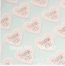100pcs/lot THANK YOU heart design Sticker Labels Seals.3.8cm, Gift stickers for Wedding seals (SS-7132)