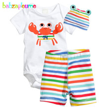 babzapleume summer newborn suit baby girls boys clothes cute short sleeve cotton bodysuit+shorts+hats infant clothing set BC1090(China)