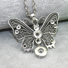 New Butterfly Jewelry Boom Life Snap Buttons Necklaces Link Chain 60CM With Retro Pendant Fit 12MM Snap Buttons Jewlery 7138(China)