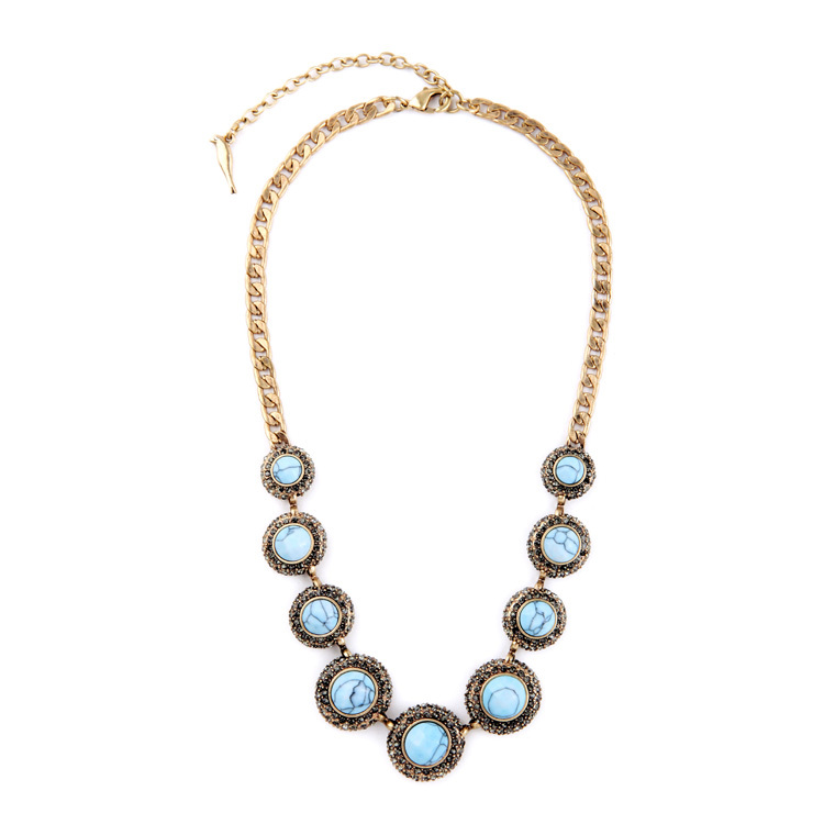 Fashion Tide Ms Round Natural Stone Bohemian Necklace Summer Major Suit Women Bijoux(China (Mainland))