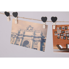 10pcs Wooden Heart Pegs Clips Picture Hanging Holder Card Party Wedding Decor (Black)