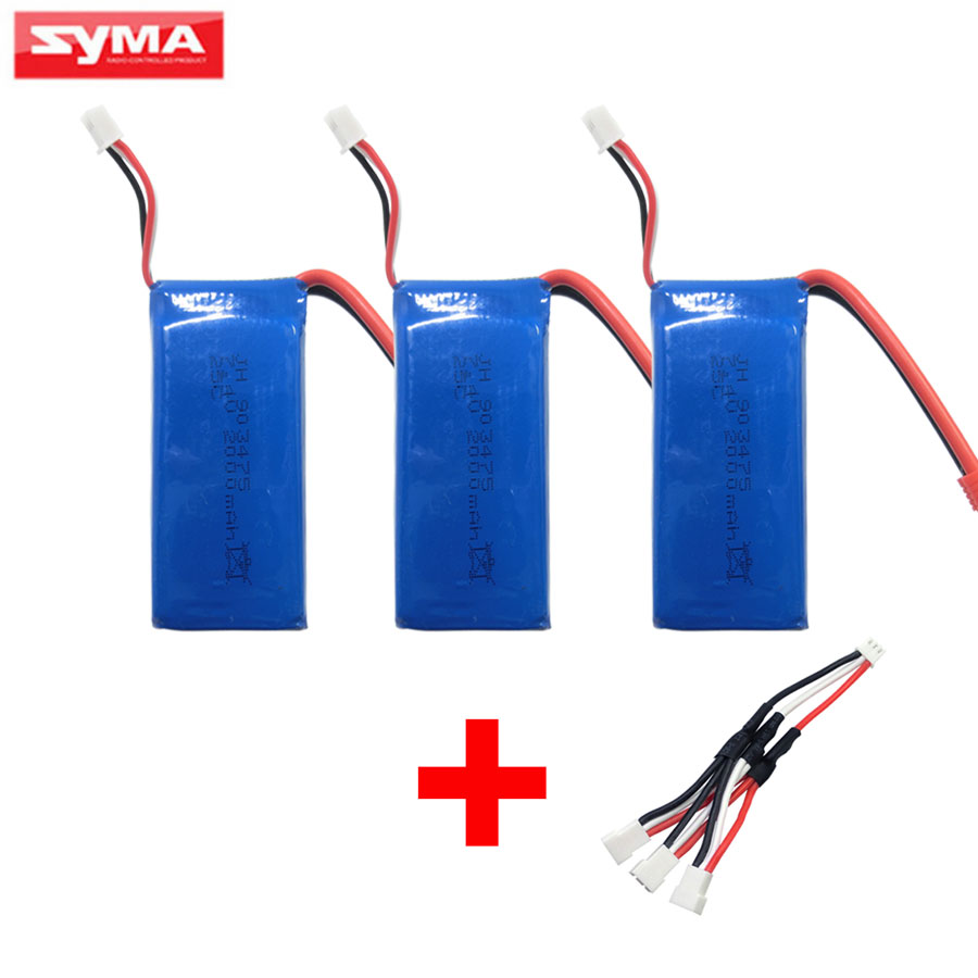 SYMA X8C X8W X8G RC Helicopter Spare 3Pcs 2000mAh Battery + 3 in 1 Charger Parts For X8HC X8HW X8HG Quadcopter Accessories<br>