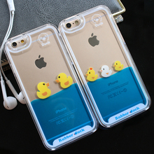 For iPhone 7 Case 3D Clear Flowing Liquid Swimming Yellow Duck Back Cover For iPhone 5S Case Cute For iPhone X 8 6S Plus 7 Plus(China)