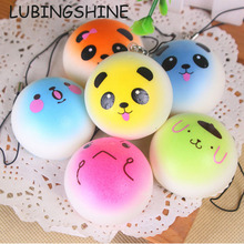 LUBINGSHINE MultiColor Kawaii Animal Face Cell Phone Bread Charms Squishy Slow Rising Women Bag Pendant Phone Straps Kids Gift(China)