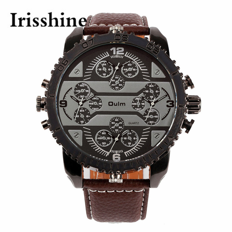 Irisshine i0600 unisex couple watch Luxury Quartz Large Dial Wrist Sports Watch new fashion men 4 time zone analog Starp leather<br><br>Aliexpress