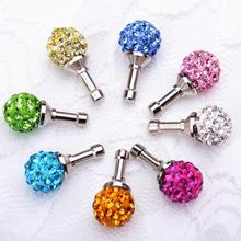 3.5mm Crystal Rhinestone bling diamond Anti Dust Plug For iPhone 5s/6/6s earphone jack plugs For cell phone headphones 12pcs/lot