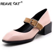 REAVE CAT Shoes woman mid heel Ladies spring summer shoes Square toe Patent leather Buckle Novelty Fashion Cool Big size 42 43(China)