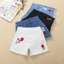 Thoshine 2017 Summer Women Short Jeans Embroidery Flower Female Hole Denim Hot Pants Mini Shorts Lady Sexy Bottoms Plus Size