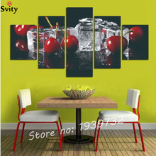5 canvas painting home decoration free shipping fruit cherry ornamental art hanging digital image (frameless) F1682