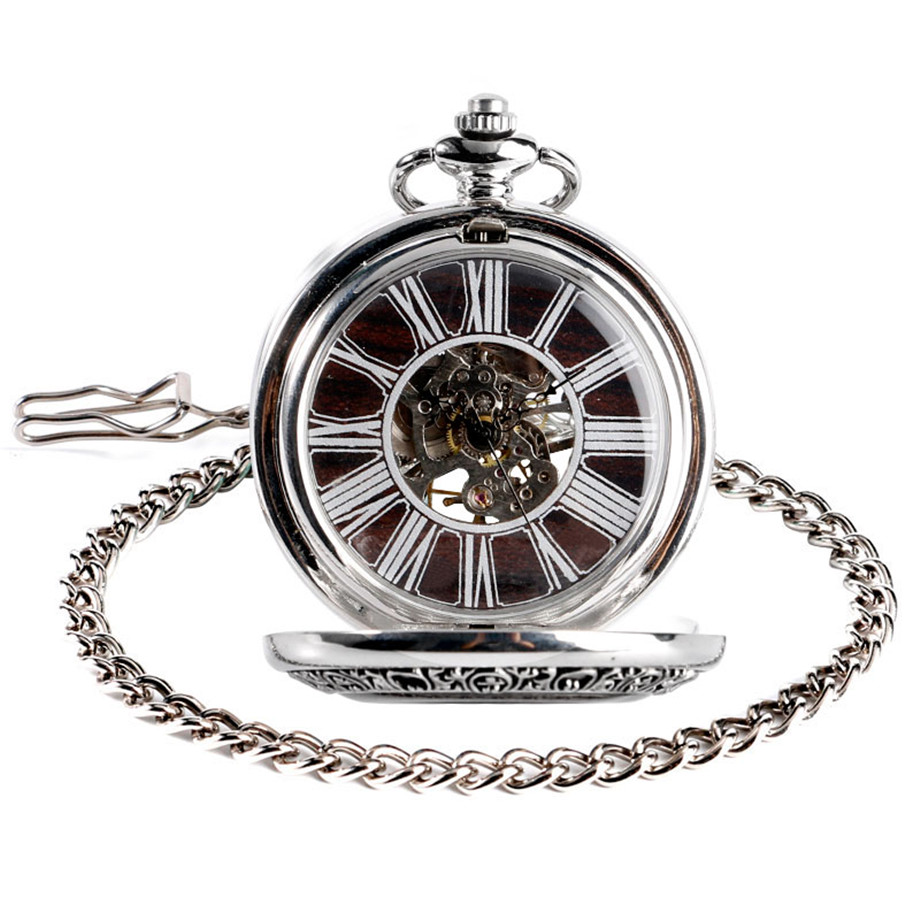 Vintage Wood Mechanical Pocket Watch Roman Numerals Creative Carving Flower Dial Wooden Watches Pendant Chain Women Men Gifts (2)