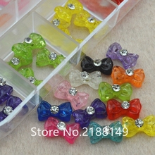 2017 60Pcs Bow Tie For 3d nail art charms jewelry adhesive rhinestones decoration for manicure design Acrylic Nails Arts(China)