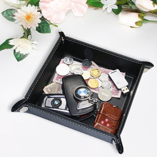Square PU Leather Keys Coins Storage Box Holder Sundries Remote Control Table Desktop Organizer Home Office Storage Tray Pan(China)