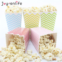 JOY-ENLIFE 12pcs Colorful Chevron Paper Popcorn Boxes Pop Corn Favor Bags for Candy Snack Wedding Decor Birthday Party Supplies(China)