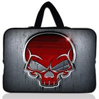 "10"" Red Skull Laptop PC Sleeve Bag Case Pouch+Hide Handle For 10.1"" Acer Aspire One/Sumsang NC10"