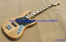 Best Electric guitar bass natural color high glossy finished,maple neck and fingerboard,black block inlay,chrome parts!