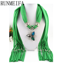[RUNMEIFA]  fashion Lady beads chain flower pendant scarf necklace charm woman girls ornament accessories wholesale scarves