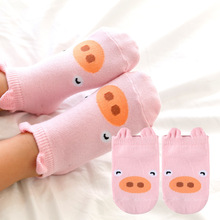 Cute Cartoon Girls Boy Socks Baby Kids Little Ears Non Slip Cotton Infant Socks 8 Colors(China)