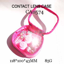 FREE SHIPPING CA0574 rose pink sweety PU BAG style with 2PAIRS kt and diamond DECO colorful contact lens case