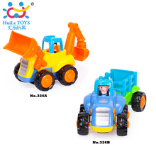 2pcs/Lot Baby Toys Push and Go Friction Powered Car Toys,Tractor, Bull Dozer Truck Early Educational Toys For Children Kids Gift(China)